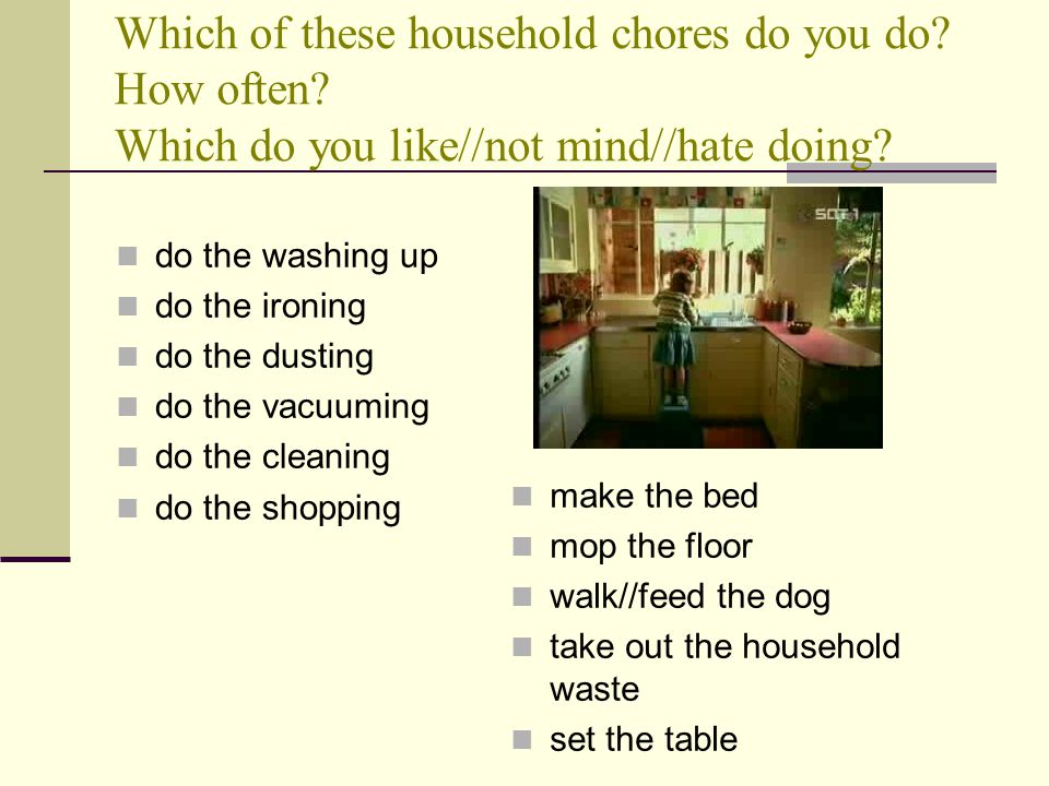 Which of these household chores do you do. How often