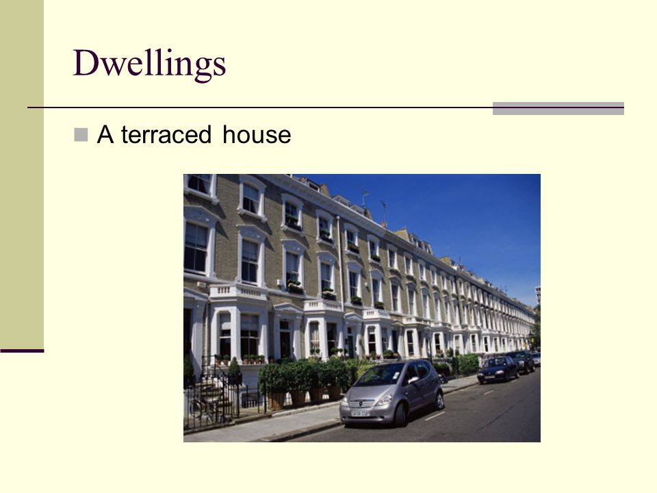 Dwellings A terraced house