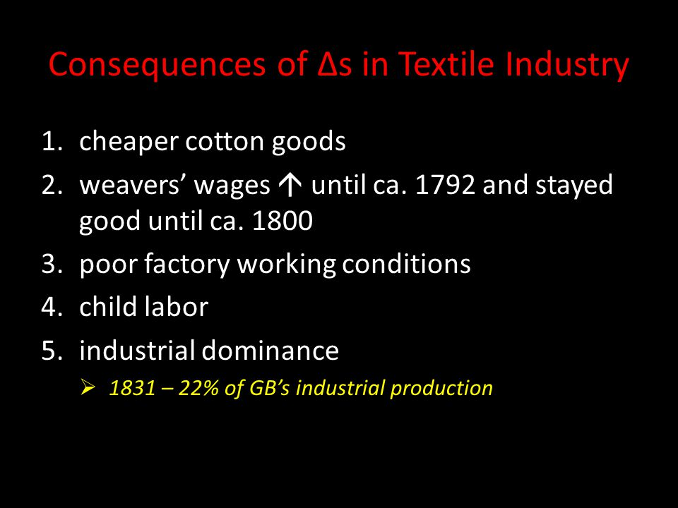 Consequences of Δs in Textile Industry