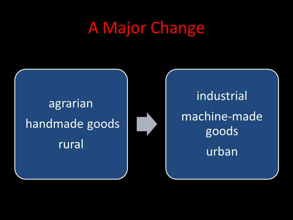 A Major Change industrial agrarian machine-made goods handmade goods