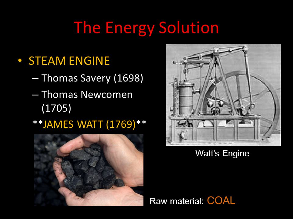 The Energy Solution STEAM ENGINE Thomas Savery (1698)