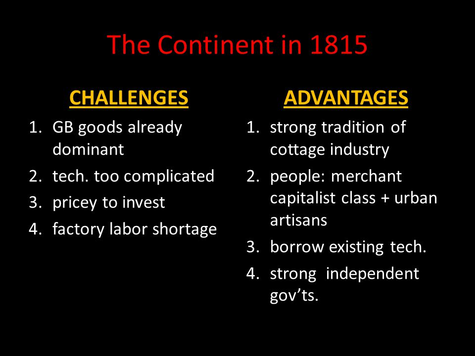 The Continent in 1815 CHALLENGES ADVANTAGES GB goods already dominant