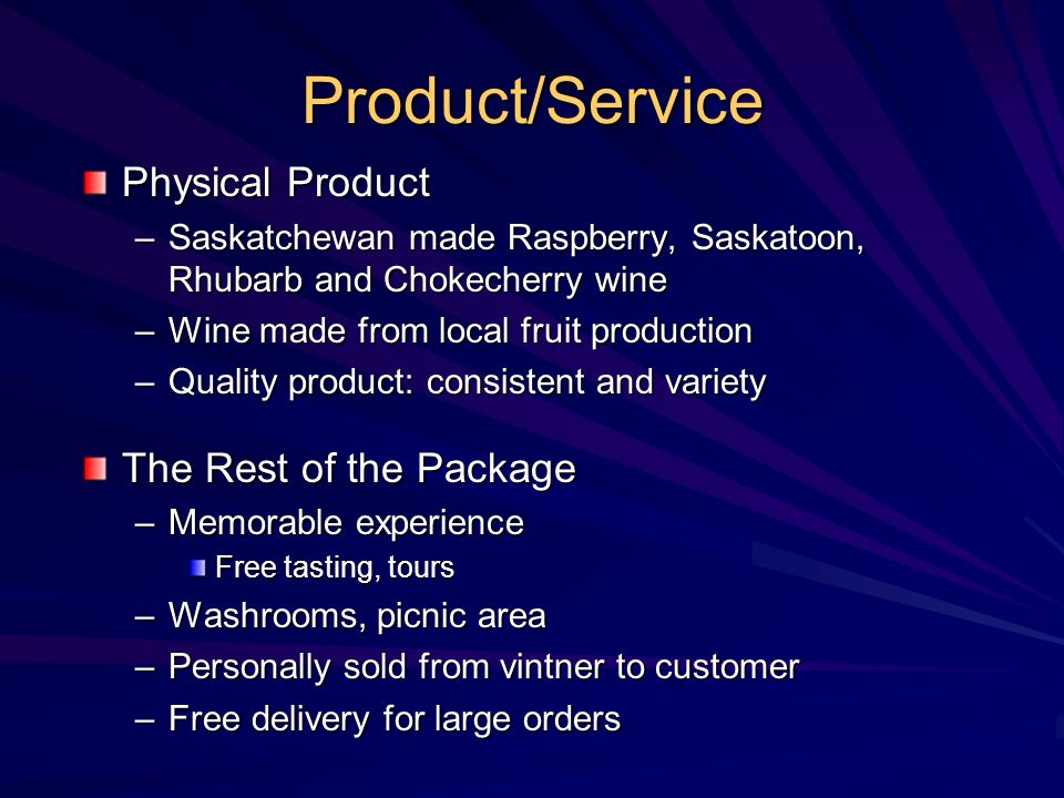 Product/Service Physical Product The Rest of the Package