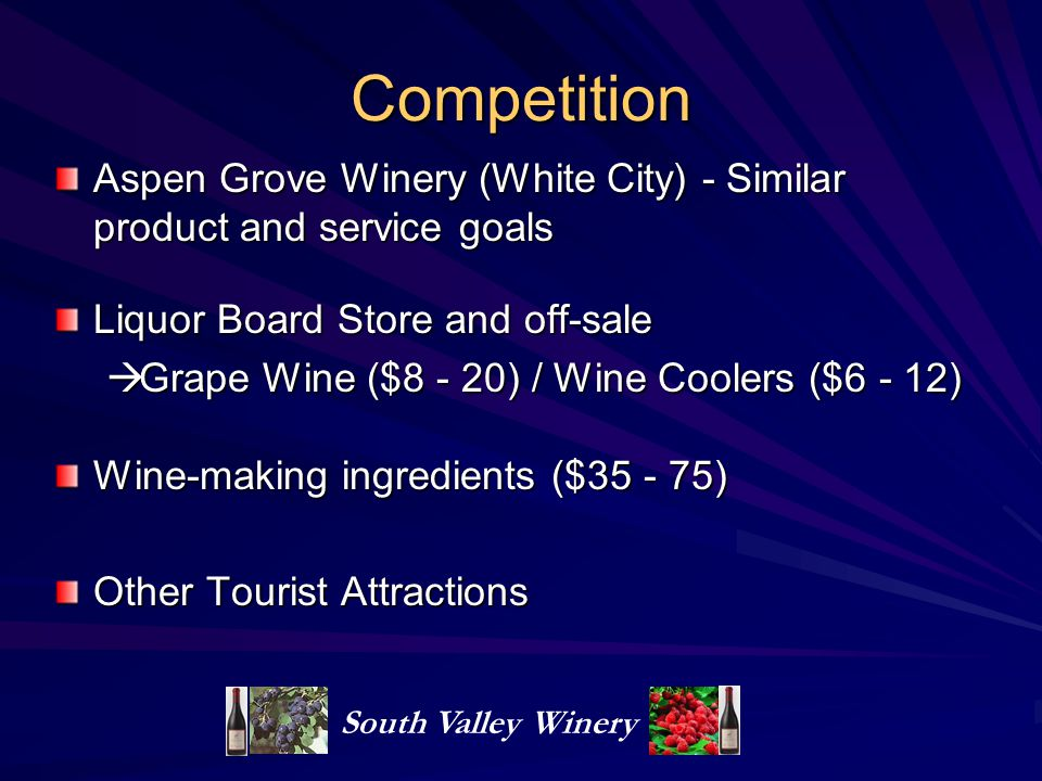 Competition Aspen Grove Winery (White City) - Similar product and service goals. Liquor Board Store and off-sale.