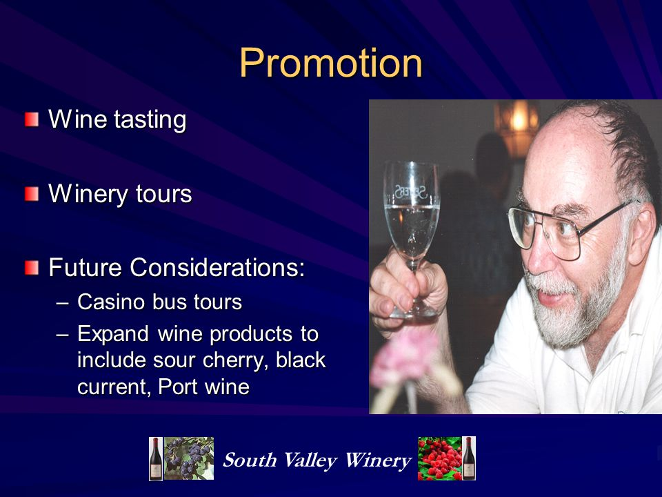 Promotion Wine tasting Winery tours Future Considerations: