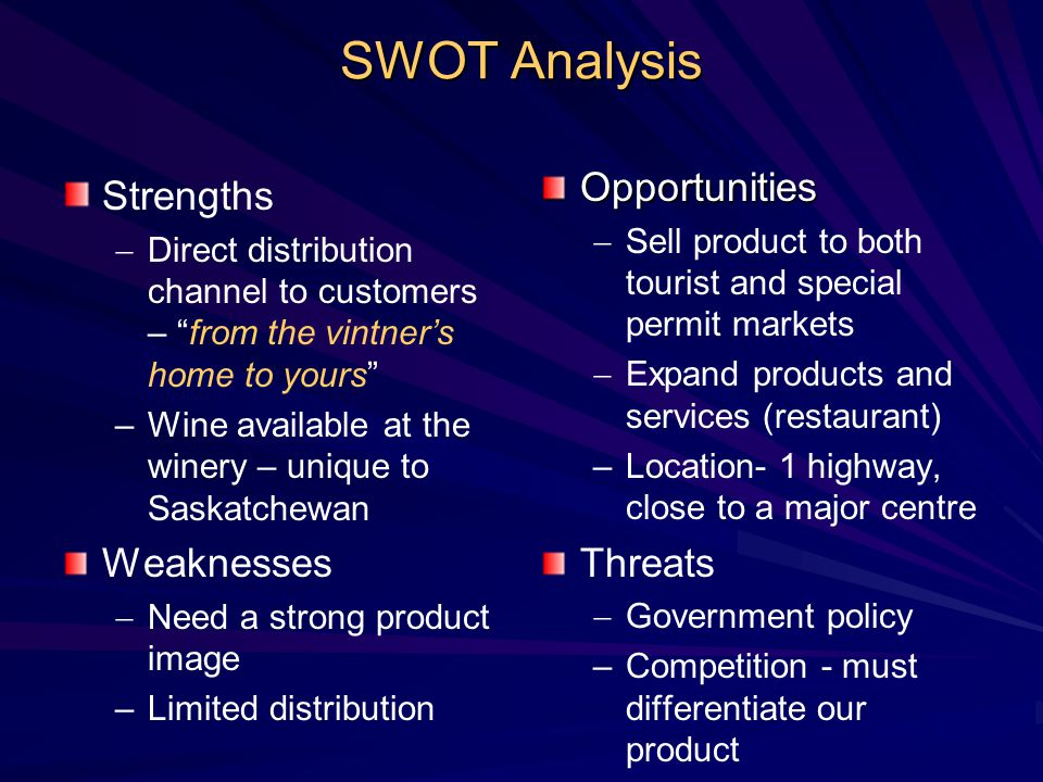 SWOT Analysis Opportunities Strengths Threats Weaknesses