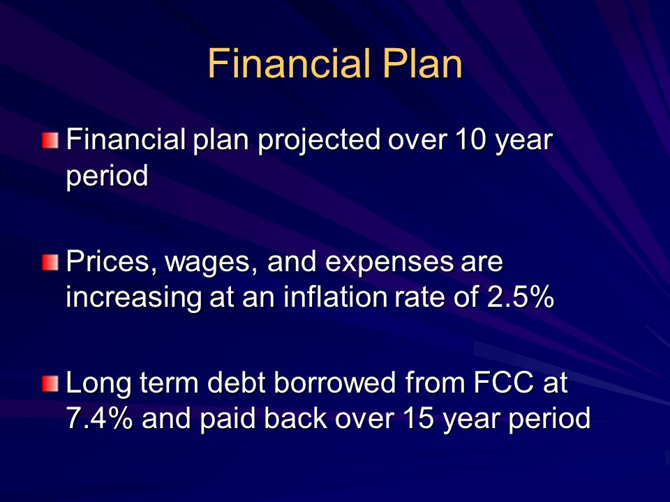 Financial Plan Financial plan projected over 10 year period