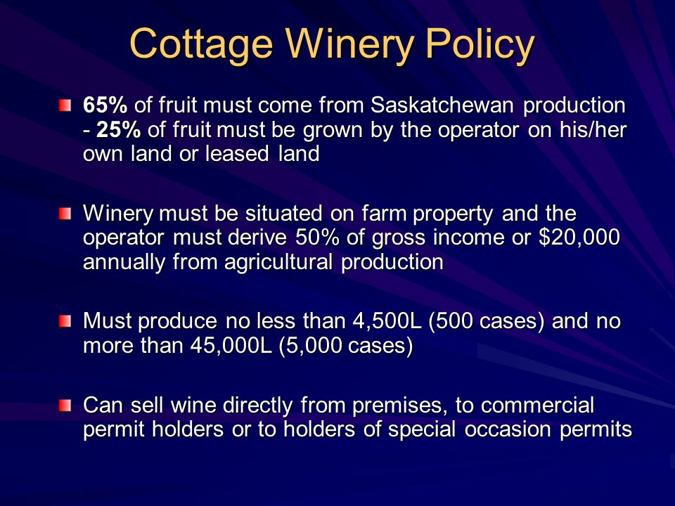Cottage Winery Policy