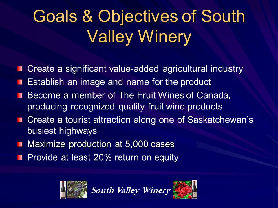 Goals & Objectives of South Valley Winery