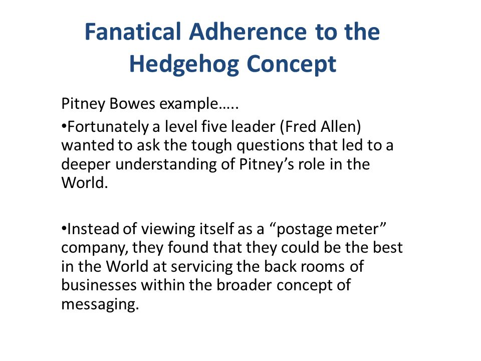 Fanatical Adherence to the Hedgehog Concept