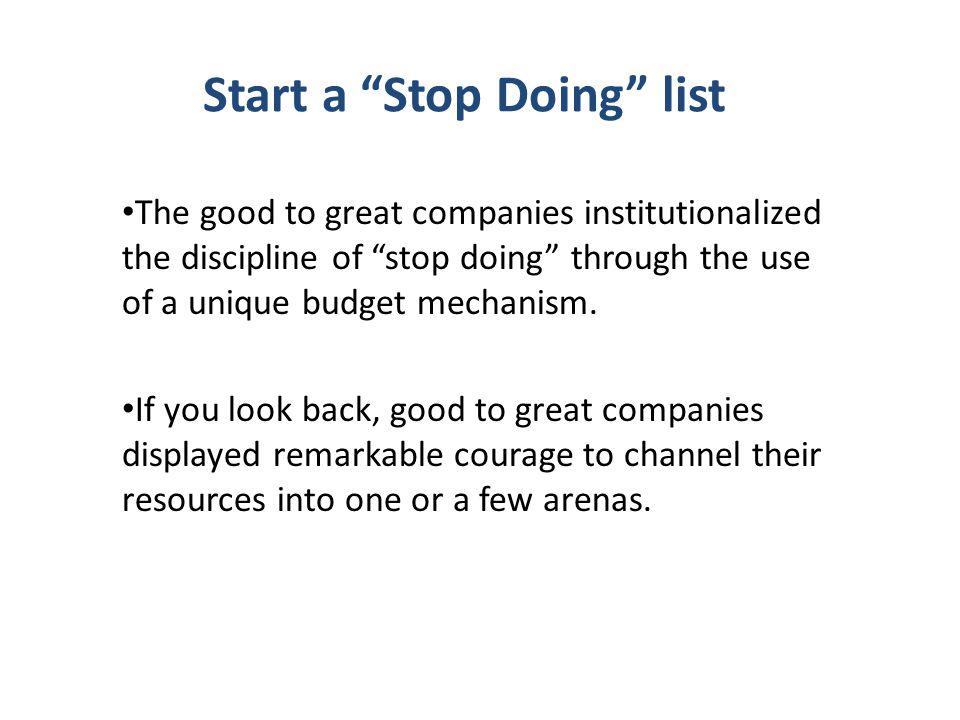 Start a Stop Doing list