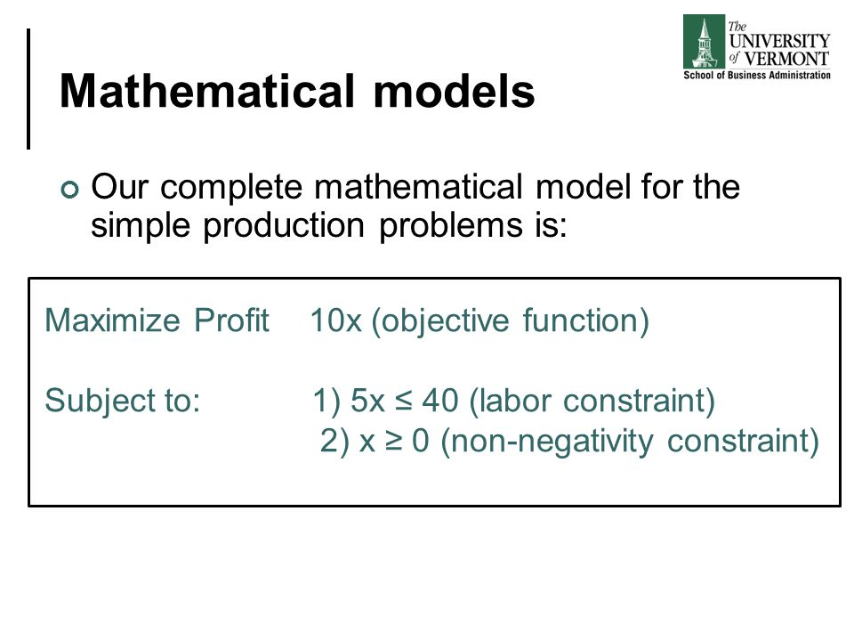 Mathematical models Our complete mathematical model for the simple production problems is: Maximize Profit 10x (objective function)