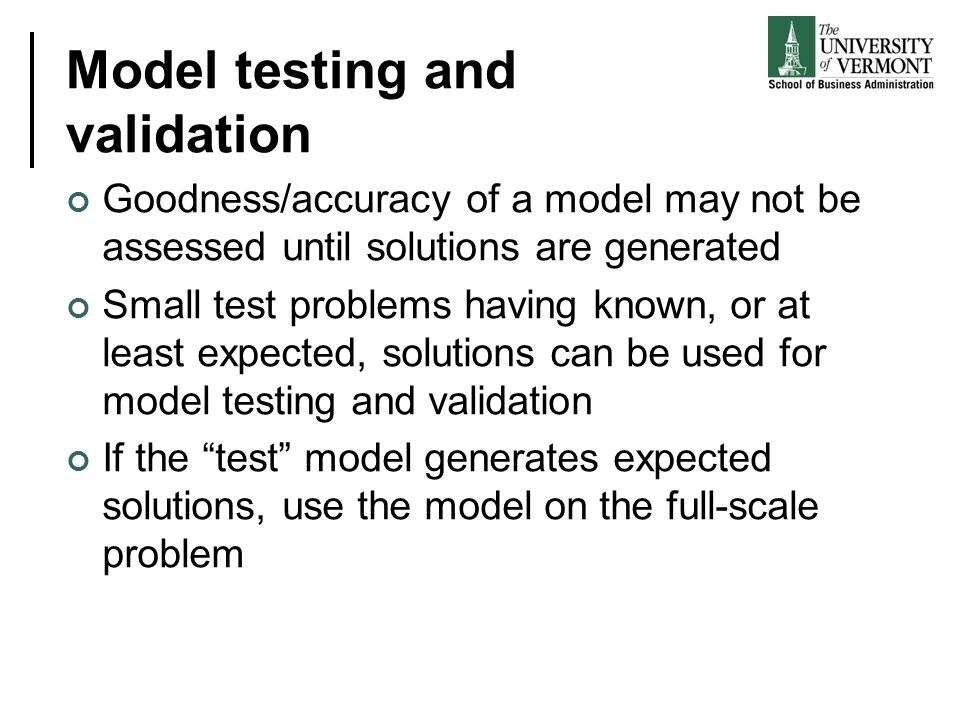Model testing and validation