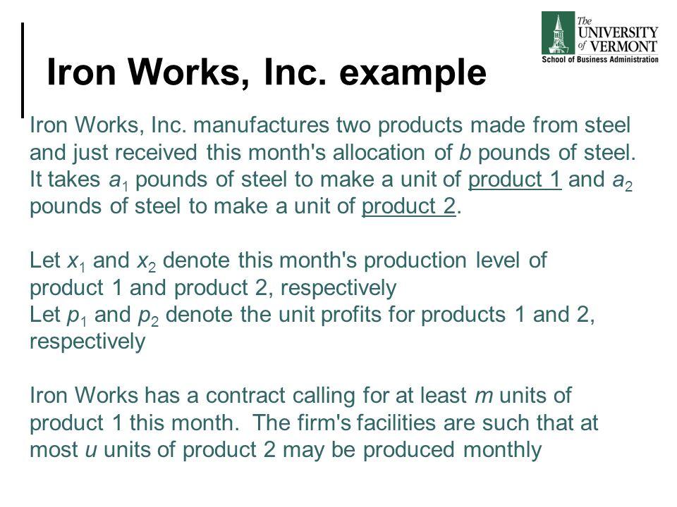 Iron Works, Inc. example