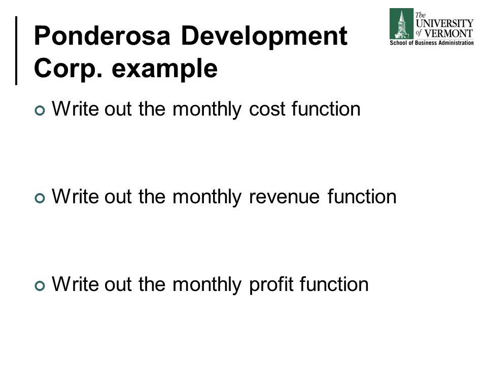 Ponderosa Development Corp. example