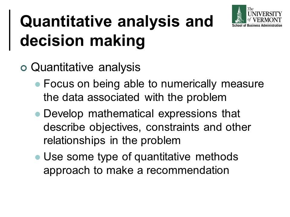 Quantitative analysis and decision making