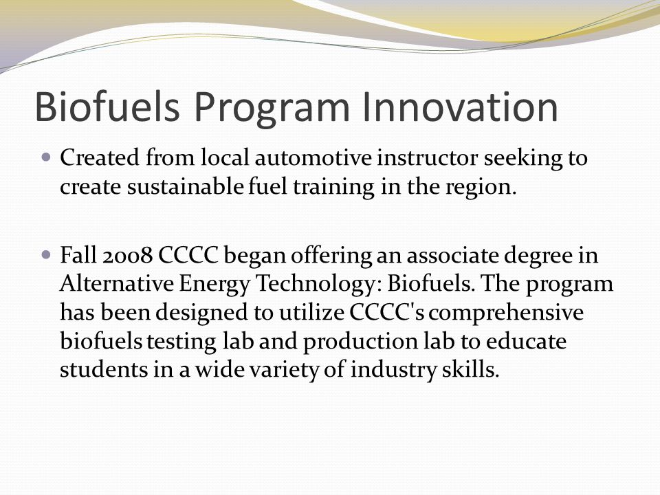 Biofuels Program Innovation
