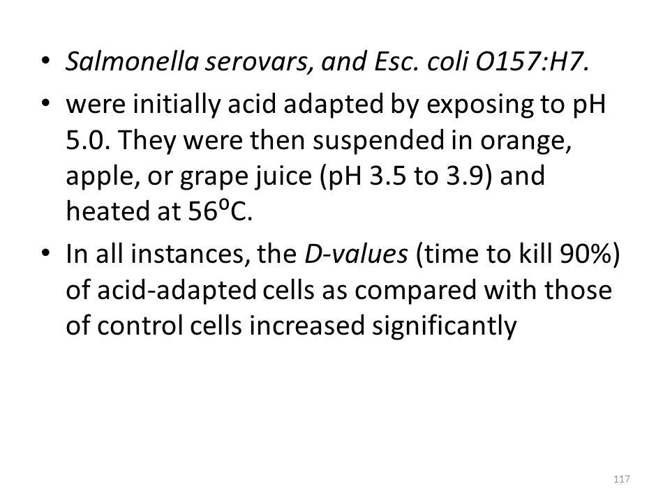 Salmonella serovars, and Esc. coli O157:H7.