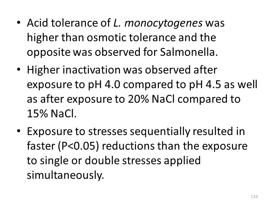 Acid tolerance of L. monocytogenes was higher than osmotic tolerance and the opposite was observed for Salmonella.