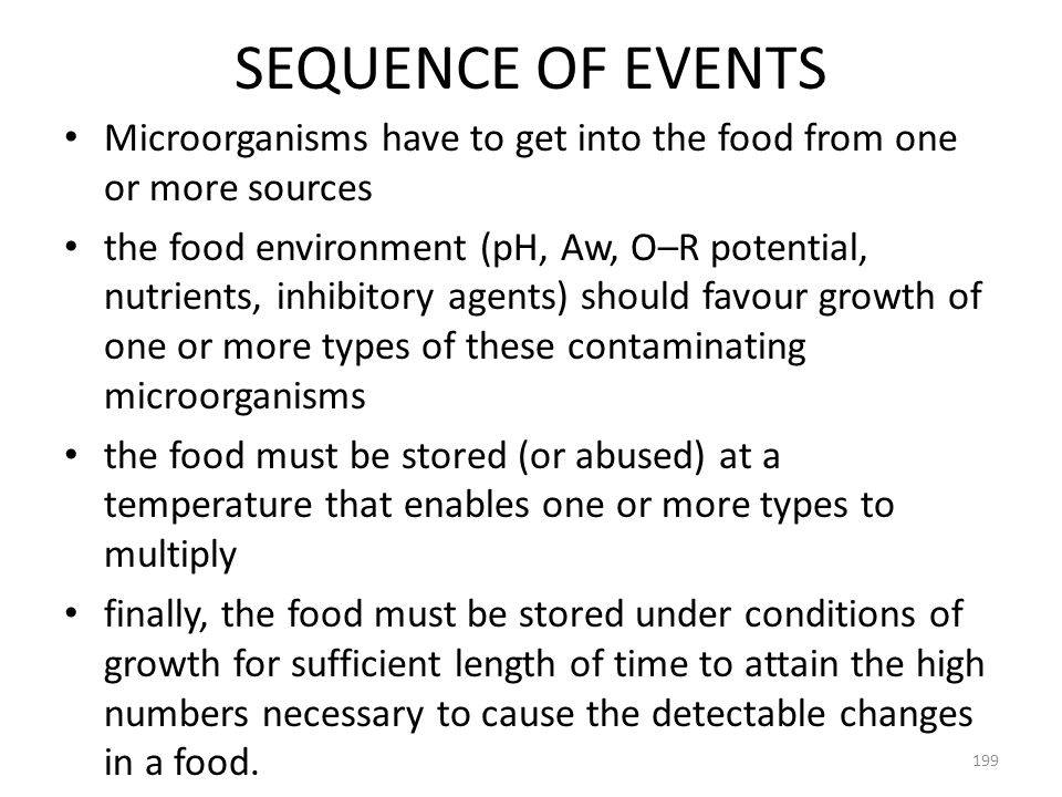SEQUENCE OF EVENTS Microorganisms have to get into the food from one or more sources.