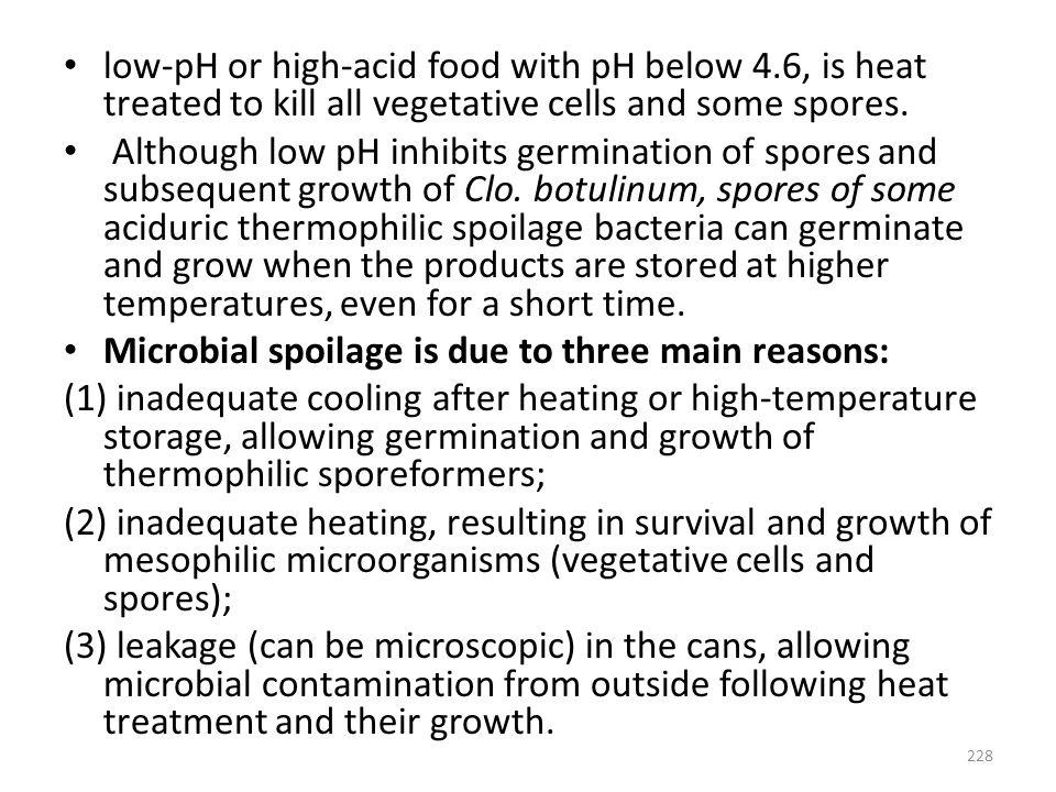 low-pH or high-acid food with pH below 4