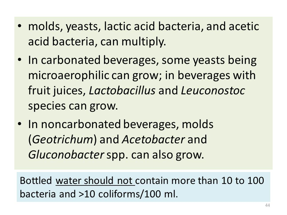 molds, yeasts, lactic acid bacteria, and acetic acid bacteria, can multiply.