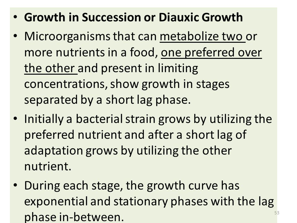 Growth in Succession or Diauxic Growth