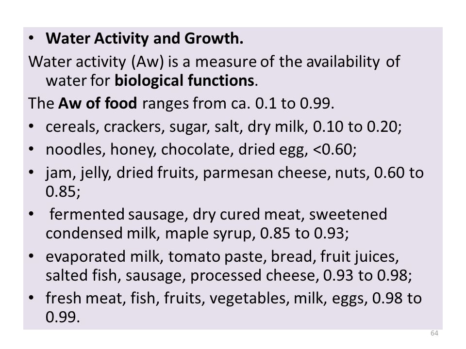Water Activity and Growth.