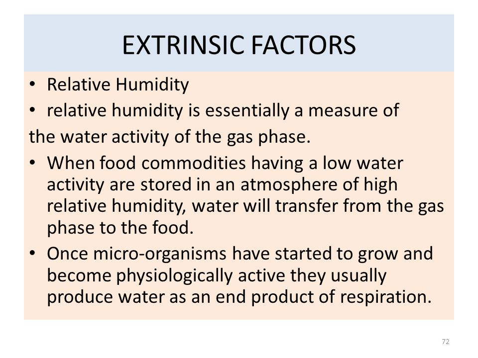 EXTRINSIC FACTORS Relative Humidity