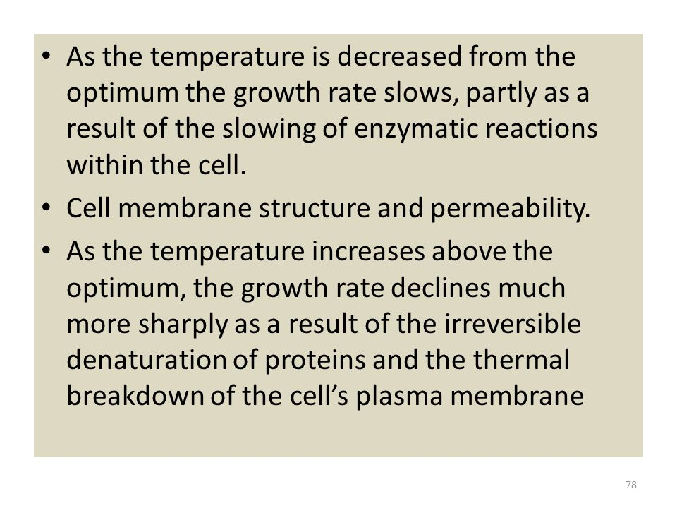 As the temperature is decreased from the optimum the growth rate slows, partly as a result of the slowing of enzymatic reactions within the cell.
