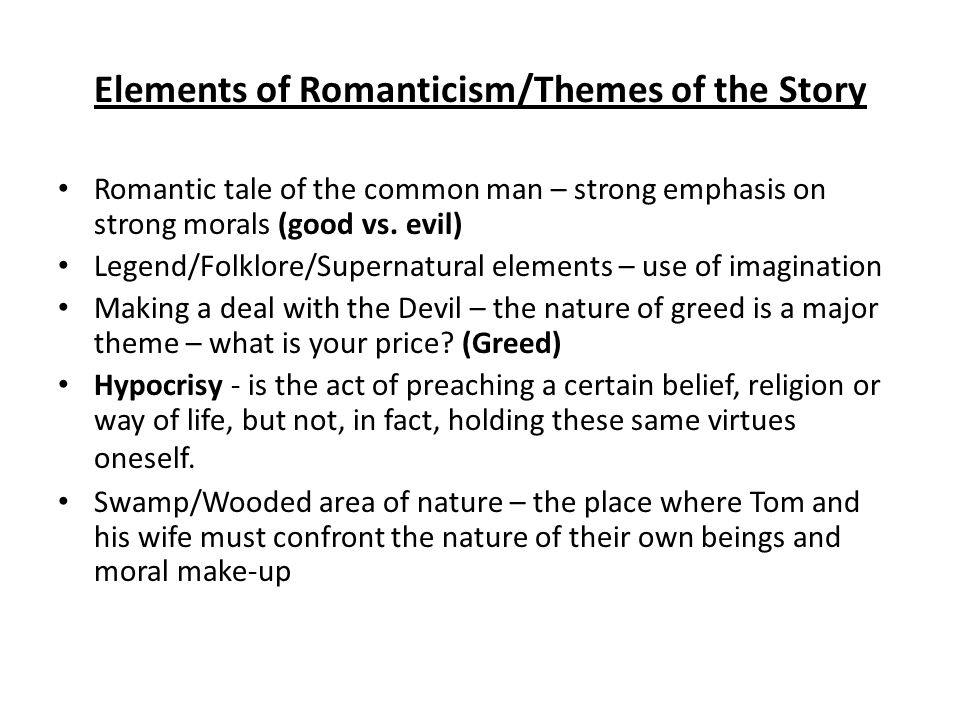 Elements of Romanticism/Themes of the Story