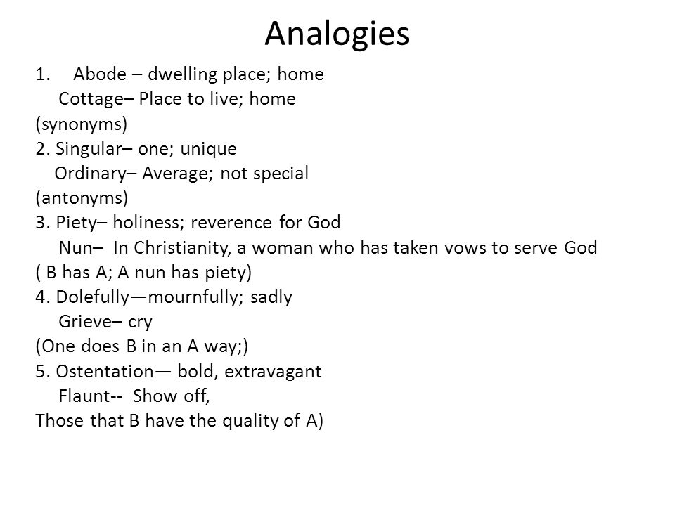 Analogies Abode – dwelling place; home Cottage– Place to live; home