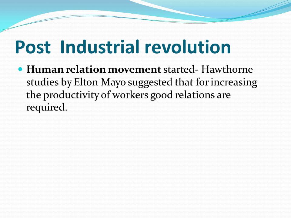 Post Industrial revolution