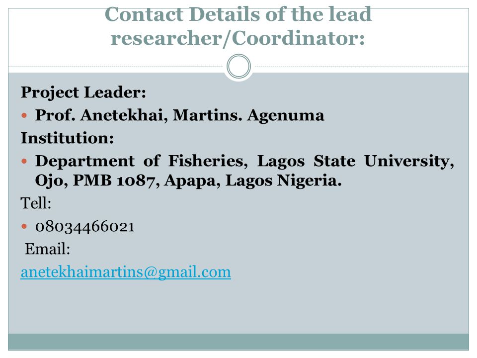 Contact Details of the lead researcher/Coordinator: