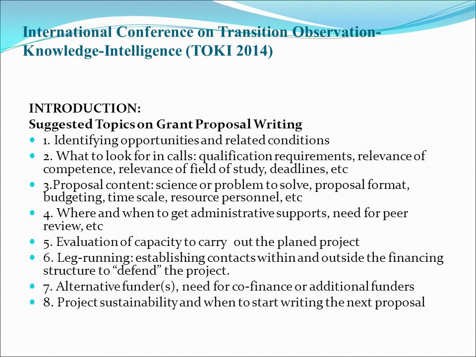 International Conference on Transition Observation-Knowledge-Intelligence (TOKI 2014)