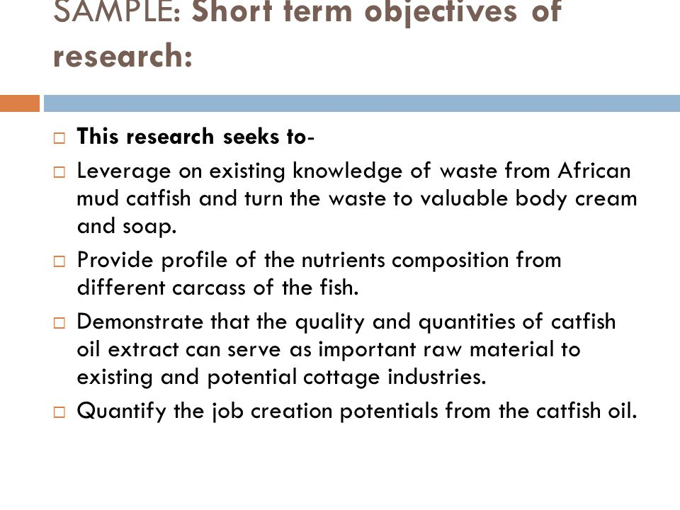 SAMPLE: Short term objectives of research: