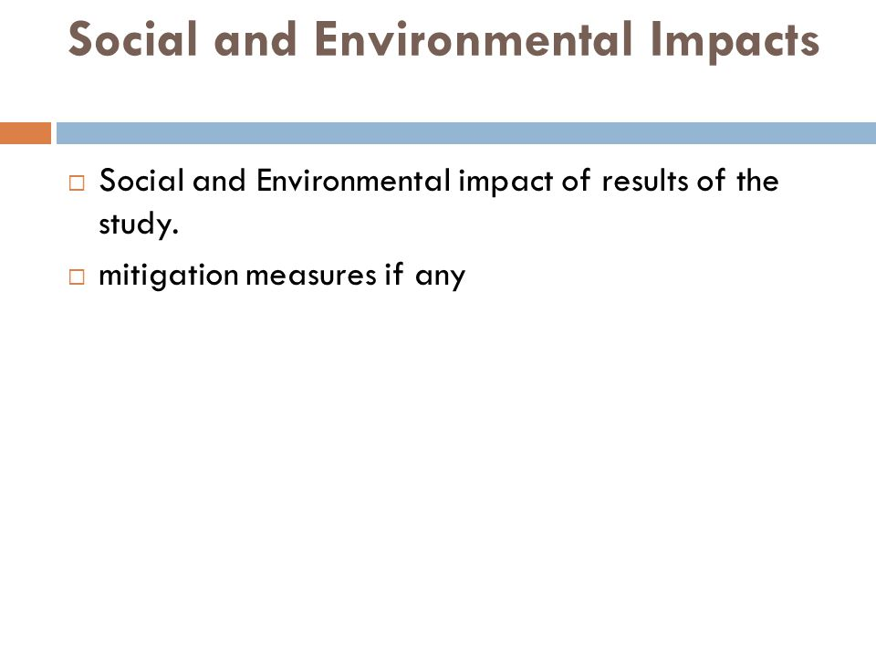Social and Environmental Impacts