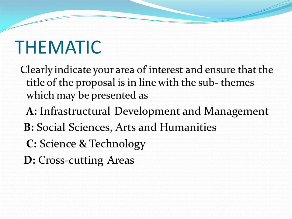 THEMATIC A: Infrastructural Development and Management
