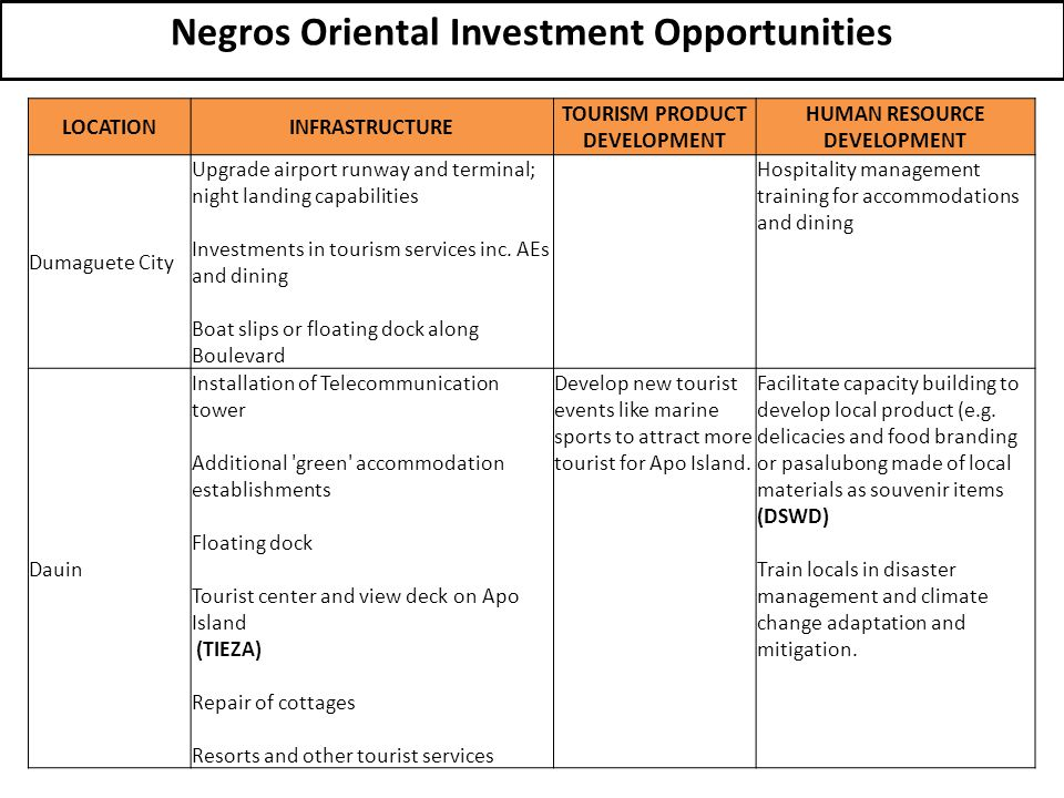 Negros Oriental Investment Opportunities