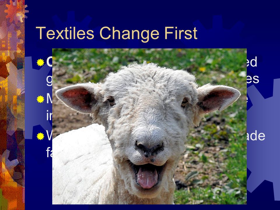 Textiles Change First Cottage industry: people created goods by hand in their own homes. Making cloth had been a cottage industry.