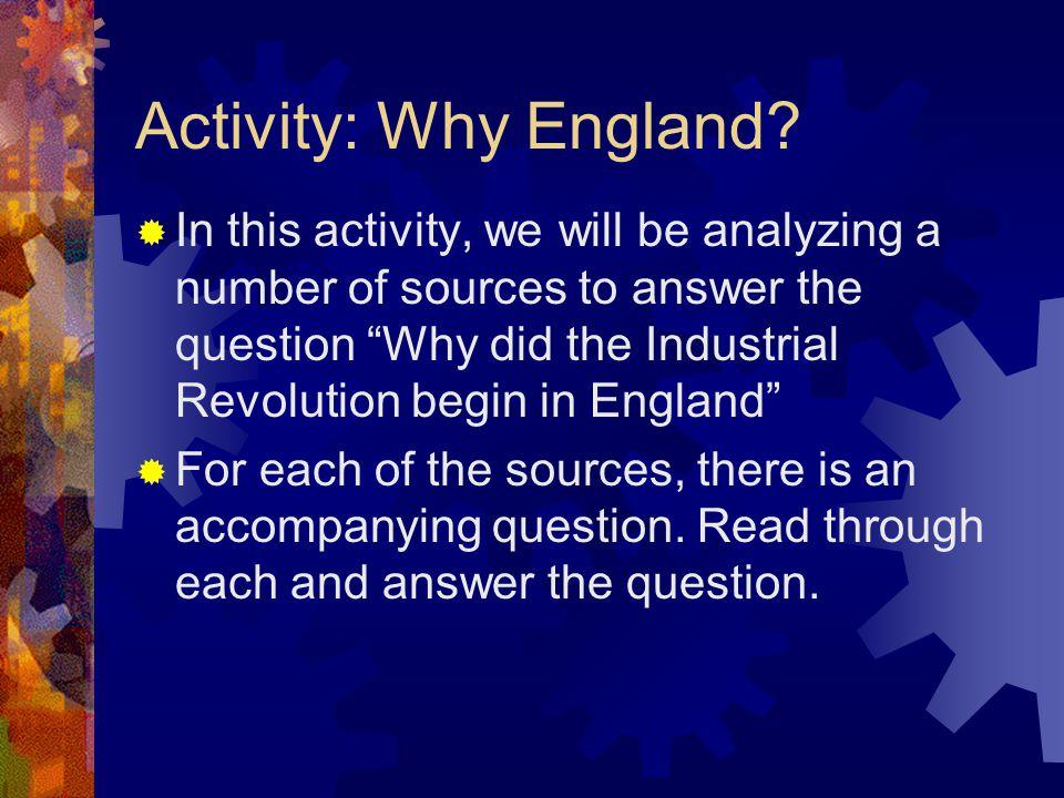 Activity: Why England