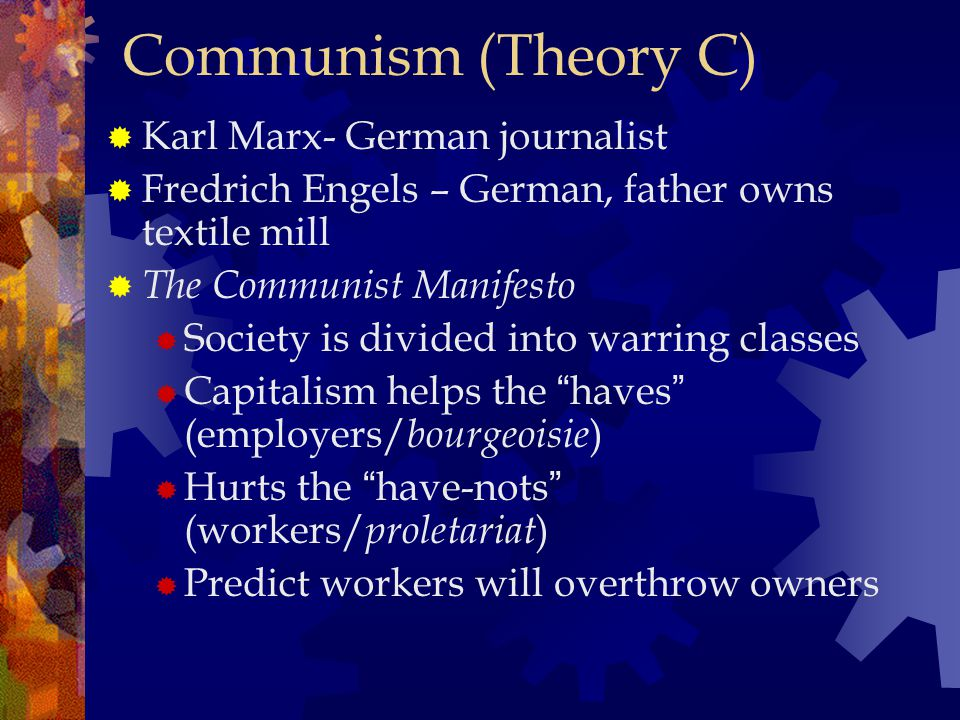 Communism (Theory C) Karl Marx- German journalist