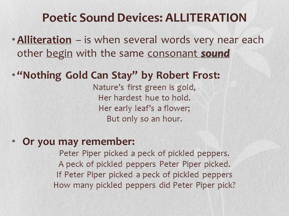 Poetic Sound Devices: ALLITERATION