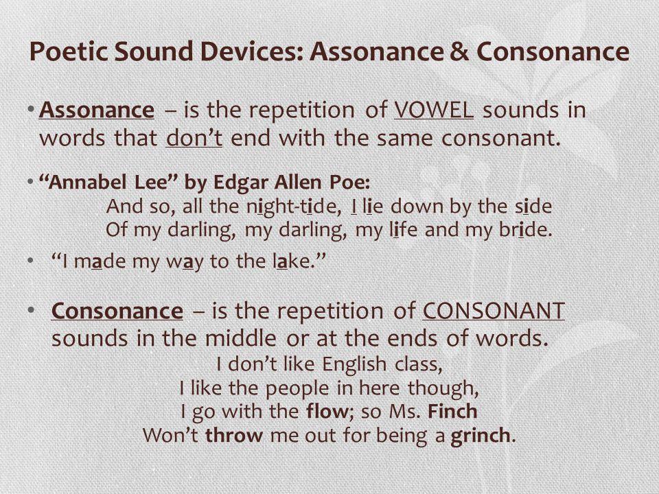 Poetic Sound Devices: Assonance & Consonance