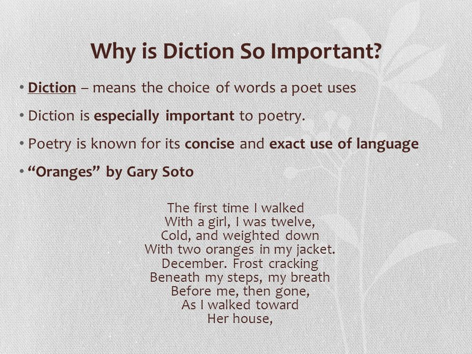 Why is Diction So Important