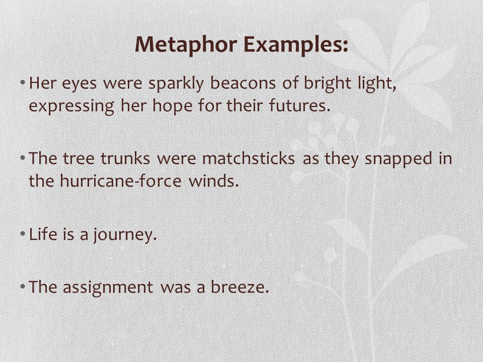 Metaphor Examples: Her eyes were sparkly beacons of bright light, expressing her hope for their futures.
