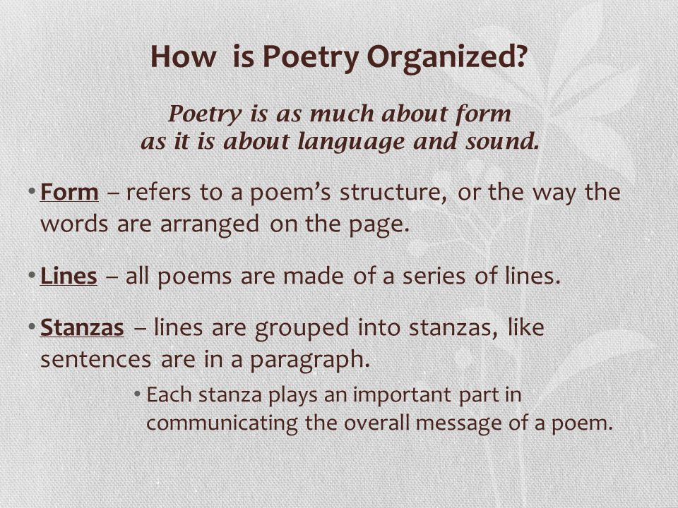 How is Poetry Organized
