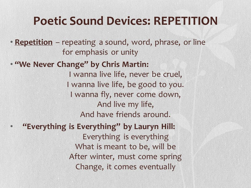 Poetic Sound Devices: REPETITION
