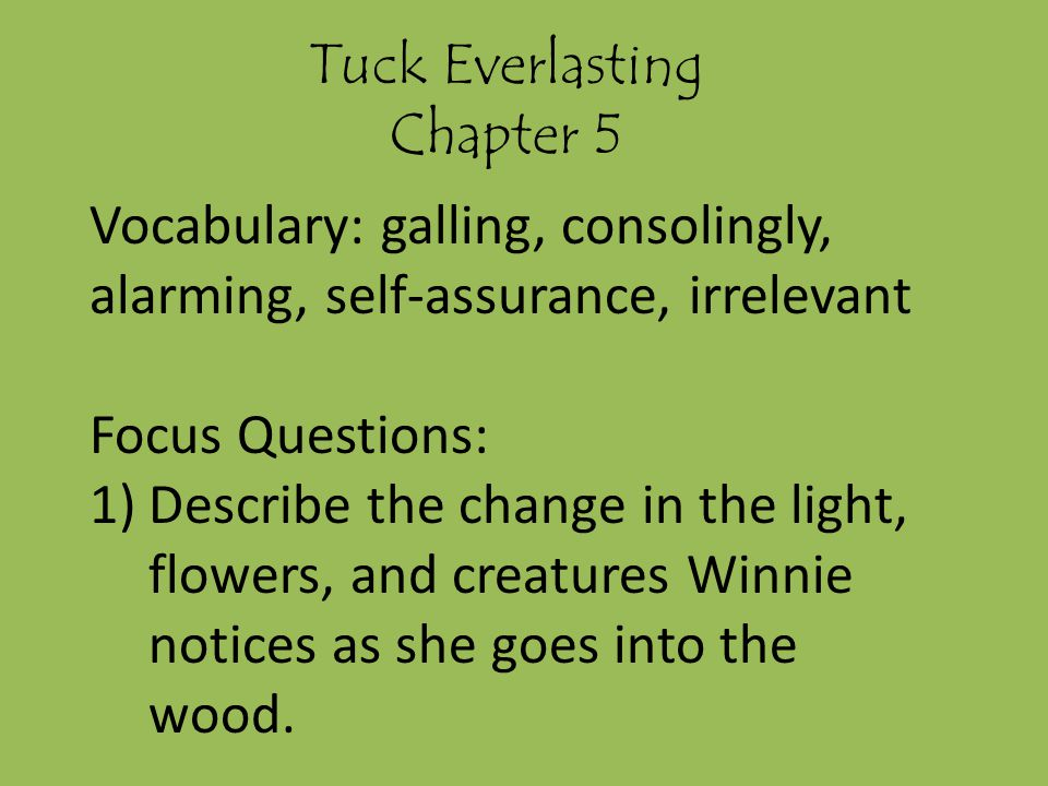 Tuck Everlasting Chapter 5. Vocabulary: galling, consolingly, alarming, self-assurance, irrelevant.