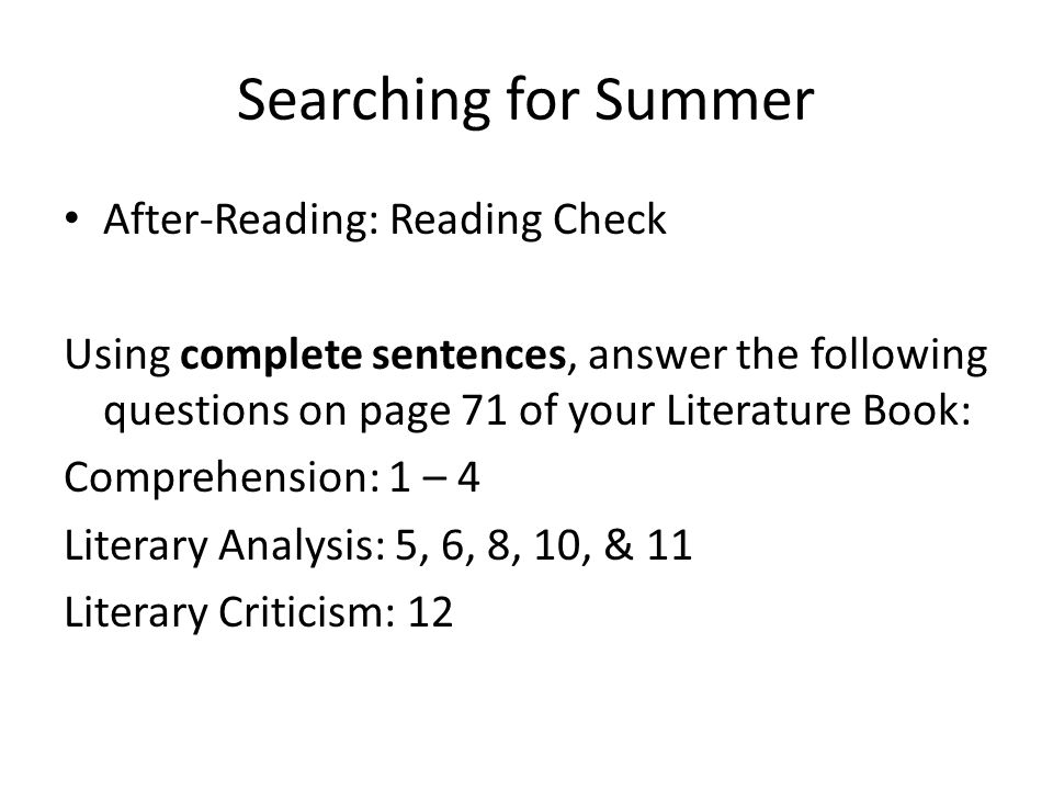 Searching for Summer After-Reading: Reading Check